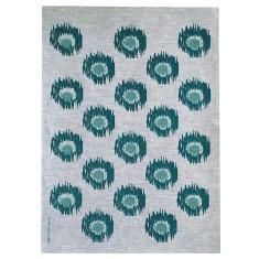 Green Ikat spot linen tea towel