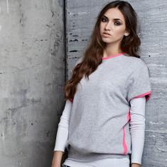 Cashmere neon jumper in grey/pink