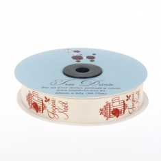 Christmas Twill Ribbon - French Bird Cream