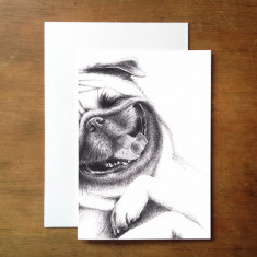 Happy little pug greeting card