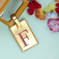 Metallic Embroidered Monogram Luggage Tag