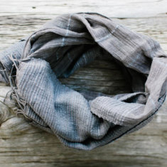 Kaya hand-loomed scarf in charcoal