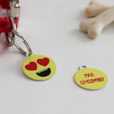 Love Emoji custom pet ID tag
