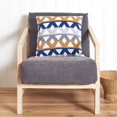 Pavilion cotton geometric cushion in amber