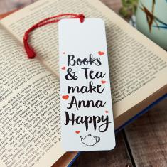 Personalised Books And Tea Make Me Happy Bookmark