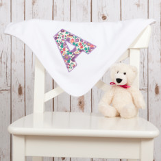 Personalised Liberty letter baby blanket