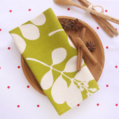 Organic cotton succulent napkins in citronelle green (set of 4)