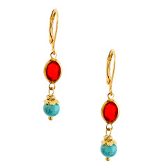 Turquoise and vintage lucite gold brass drop earrings