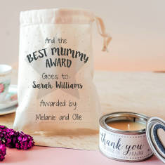 Personalised Best Mummy Award Candle In Gift Bag