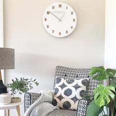 London Clock Company Hvit (Numbers) White Wall Clock 50cm