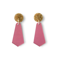Jazzy drop earrings - pink mirror and gold glitter