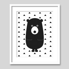 Bear With Triangles Scandi Style Nursery Art Print