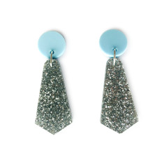 Jazzy drop earrings - silver glitter and baby blue