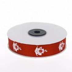 Christmas Twill Ribbon - Cuckoo Clock Red