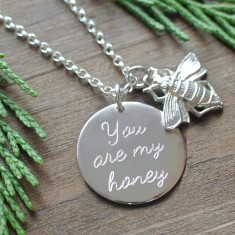Personalised silver or gold disc & bee necklace