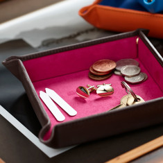 Luxury Leather Travel Coin Tray