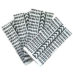 Charcoal Tribal dash linen napkins (set of 4)