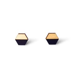 Hexagon half earring studs - navy blue