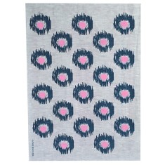Ink and Pink Ikat spot linen tea towel