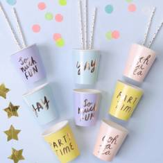 Pastel And Copper Paper Party Cups