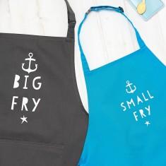 Personalised Big Fry, Little Fry Apron Set