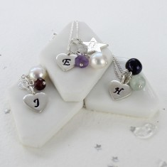 Personalised Birthstone Necklace with Silver Heart Charm