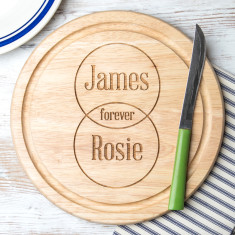 Personalised Couple's Names Venn Diagram Round Board