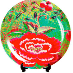 Anna Chandler design Chinese peony dinner plates (set of four)