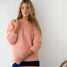 Cashmere rib sweater in peach