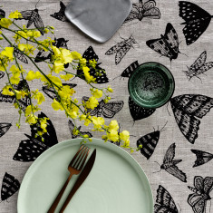 Black Moths linen table runner