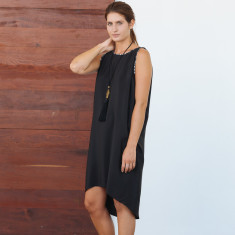 Sera black slip on organic pure silk dress