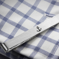 Sterling silver Anchor Tie Clip engraved