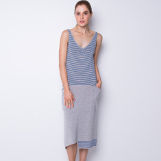 Big pocket long dress - powder blue
