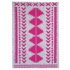 Neon magenta Tribal linen tea towel (natural or off-white)