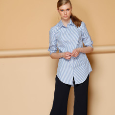 Stripe 3/4 sleeve button down collared cotton shirt in sky white