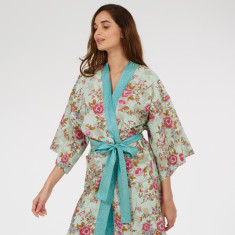Kimono Robe in Blue Beautiful print