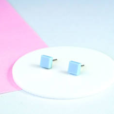 Mini Acrylic square studs - Baby blue