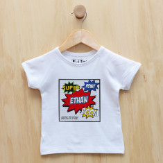 Personalised superhero comic t-shirt