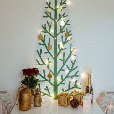 Classic Christmas tree wall decal with lights & decorations (new style)