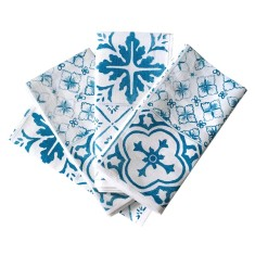 Black or blue tiles linen napkins (set of 4)