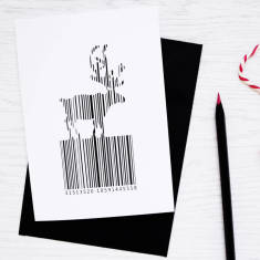 Christmas barcode reindeer card (set of 3/5)