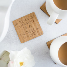 Teapots & Conversation Bamboo coasters (Set of 4)