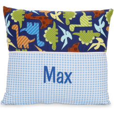 Personalised name cushion in Dinosaur