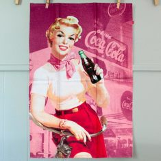 Retro tea towel Coca-Cola Pin-Up girl in pink
