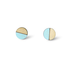 Circle half moon earrings in mint blue