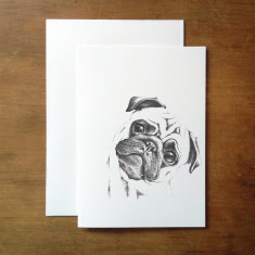 Pug in pencil greeting card