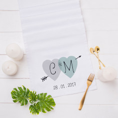 Personalised Two Hearts Table Runner