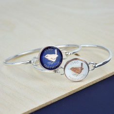 Sterling Silver Farthing Enamel Coin Bracelet Bangle