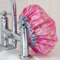 Shower cap in rosy water garden print