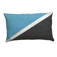 Flag colourblock cushion in blue and charcoal